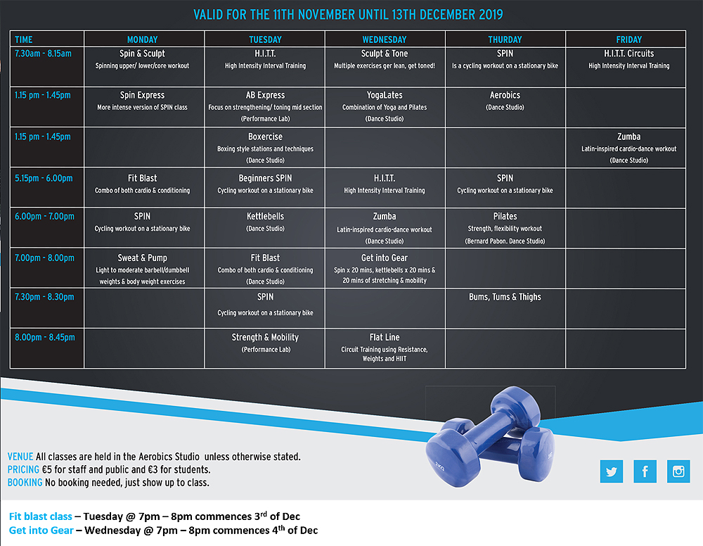 Kerry Sports Academy Fitness Timetable