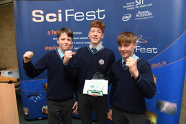 Darragh  Fleming, Ethan O'Neill & Colm Looney from Coláiste Bhréanainn win SciFest@IT  Tralee
