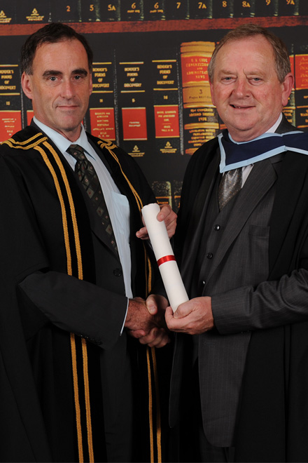 Flan Garvey received a MA from Mr Michael Carmody president IT Tralee